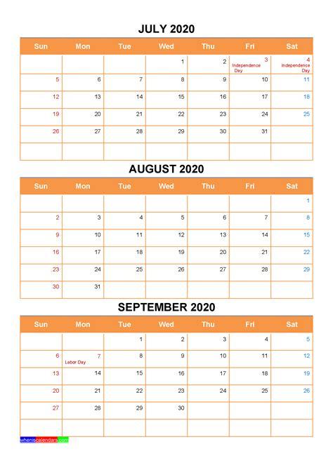 july august september  calendar  holidays word