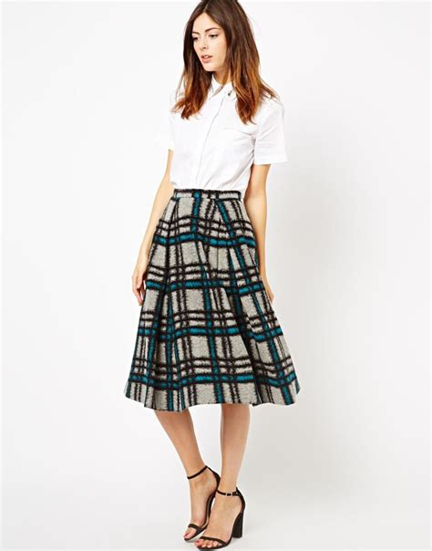 check midi skirt midi skirt in brushed check