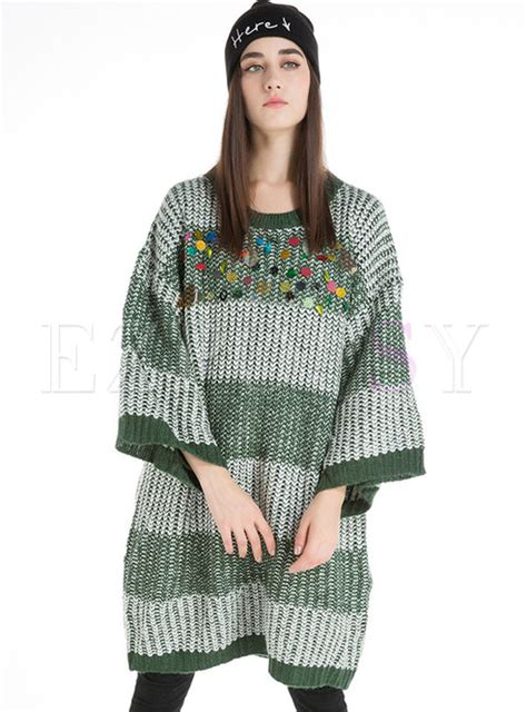 Sequined Knit Sweater tops sweaters striped sequined pullover knit sweater