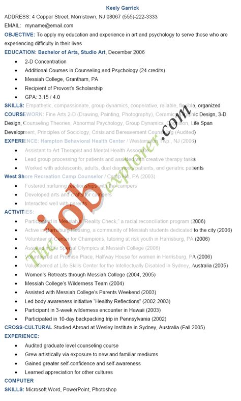 resume format for arts students sle resume template