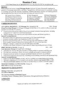 mortgage broker resume mortgage broker sle resume