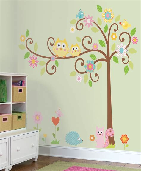 scroll tree wall stickers with animals megapack stickers
