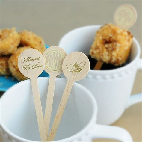 6 In. Personalized Round Top Wood Drink Stirrers   My