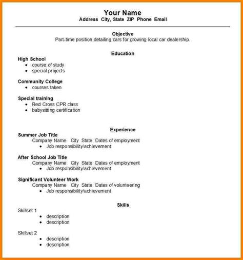 5 blank high school resume template professional resume