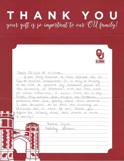 Thank You Letter To Host The Ou Club Of Wichita For The Fans And Friends Of The