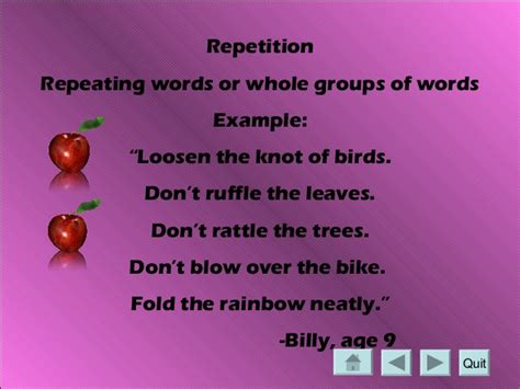 exle of repetition an introduction to poetry for fifth graders