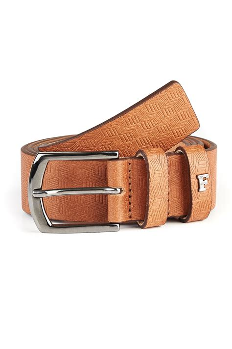 connection brown cognac geo embossed leather belt