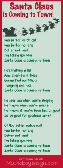 printable lyrics for santa claus is coming to town print santa claus is coming to town christmas song lyrics