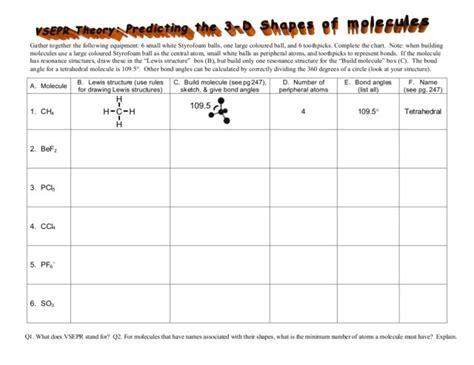 molecular geometry worksheet with answer key vsepr