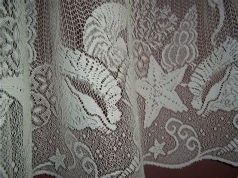 seashell lace curtains white lace curtain tier valance seashell sea shell beach