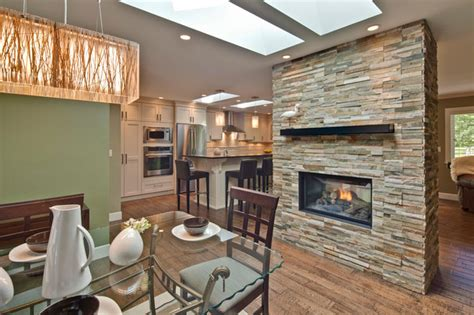 Walk Around Fireplace/Dinning Area Contemporary Dining Room vancouver by My House Design