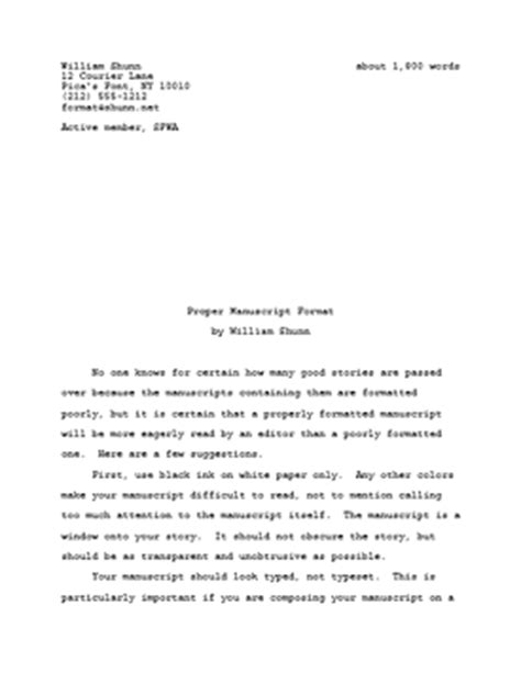 proper manuscript format for fiction writers william shunn