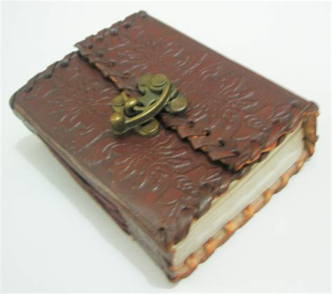 Handmade Leather Bound Journals - handmade leather bound mini embossed journal pocket diary