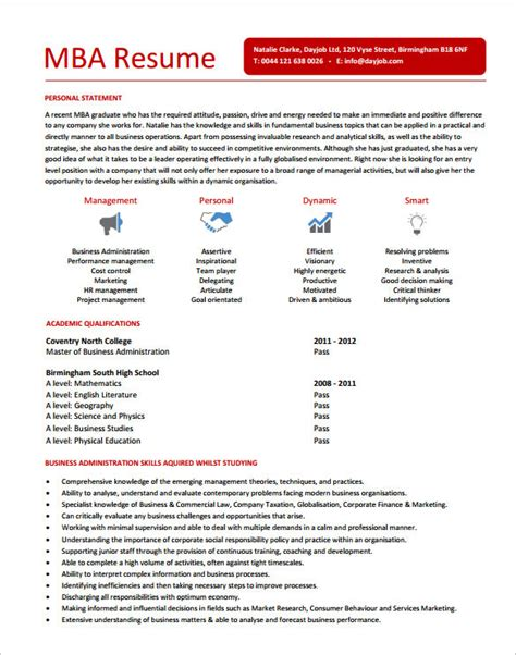 Resume Format For Mba Marketing Pdf by Mba Resume Template 11 Free Sles Exles Format