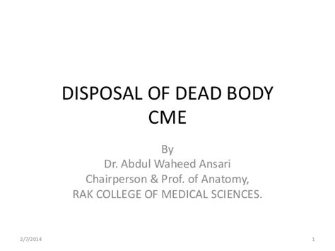 dispose of dead disposal of dead i