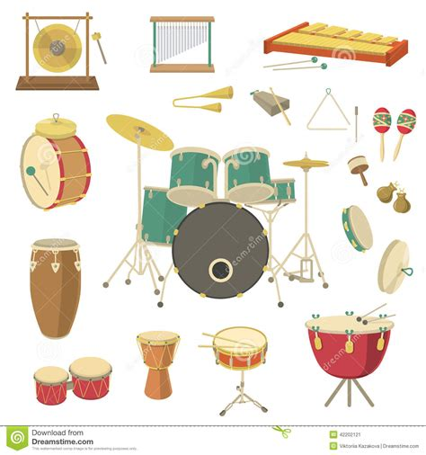 percussion musical instruments stock vector image