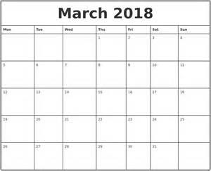 Calendar 2018 Printable Monthly March 2018 Printable Monthly Calendar