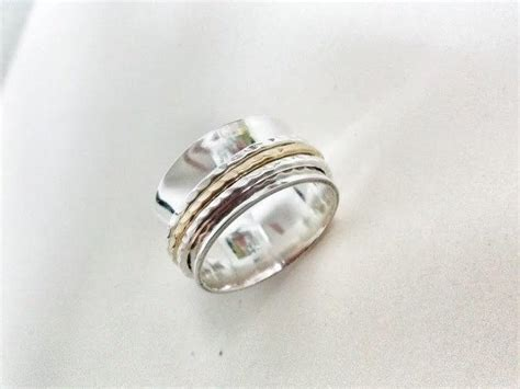 Handmade Silver And Gold Rings - unisex spinner ring for relieving stress and meditation