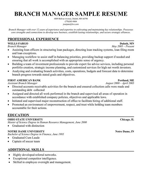 bank branch manager resume example banking resume samples
