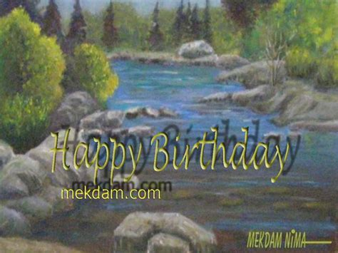 Landscape Birthday Pictures Happy Birthday River In Landscape Painting On Canvas