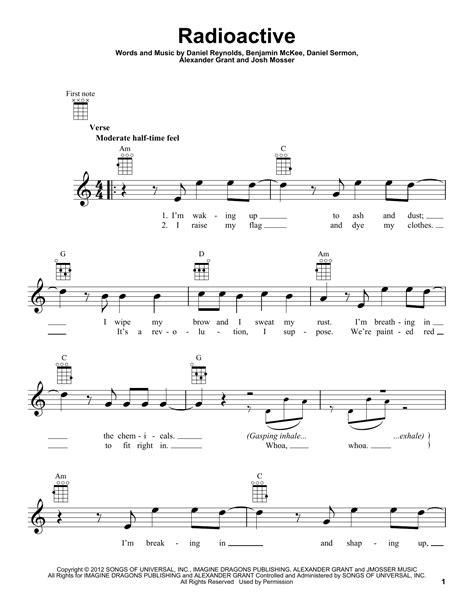 Perfect Ukulele Chords For Radioactive Motif Guitar Ukulele Piano