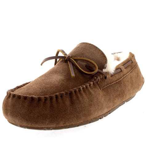 mens fur lined moccasin slippers mens real australian sheepskin loafer winter fur lined