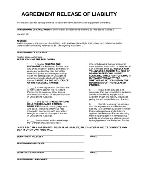 release of liability agreement template 28 images