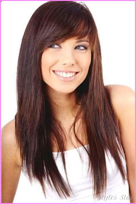 haircut for round face long hair with bangs haircuts with side bangs stylesstar com
