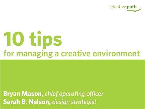 design for environment slideshare 10 tips for managing a creative environment