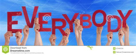 Character Building Letter many holding word everybody blue sky