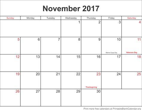 Calendar November 2017 Blank