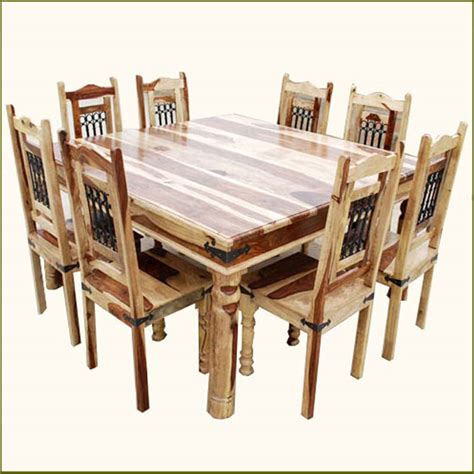 Square Wood Dining Table For 8 9 Pc Square Dining Table And 8 Chairs Set Rustic Solid Wood Furniture Ebay