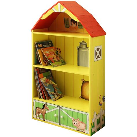 kid s wooden barn bookshelf from the teamson 174 happy farm