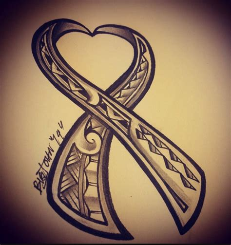 tribal cancer ribbon tattoos polynesian version in tribute to cancer awareness