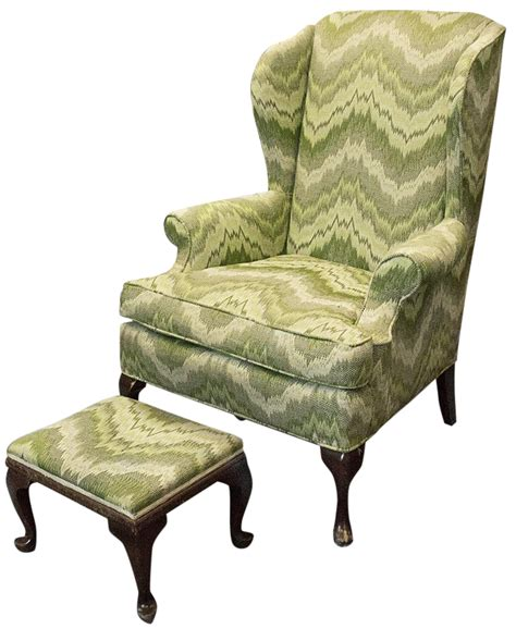 ace hardware queen anne queen anne style wingback chair ottoman chairish