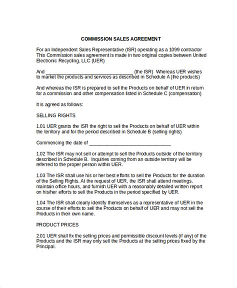 sle commission sales agreement template 8 free
