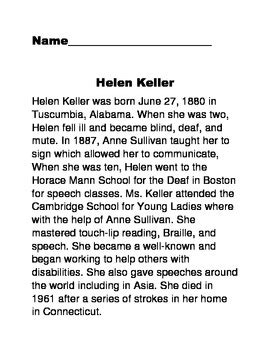 hellen keller scholastic biography questions non fiction text helen keller comprehension by dana
