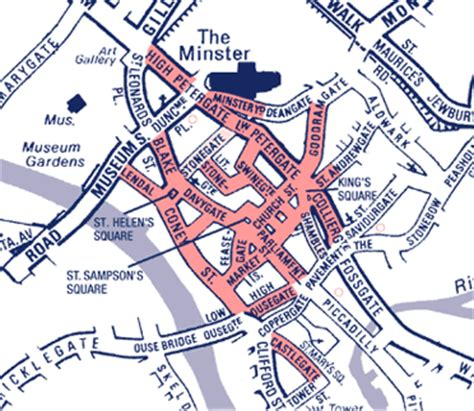 printable map york city centre pedestrianised city centre i travel york