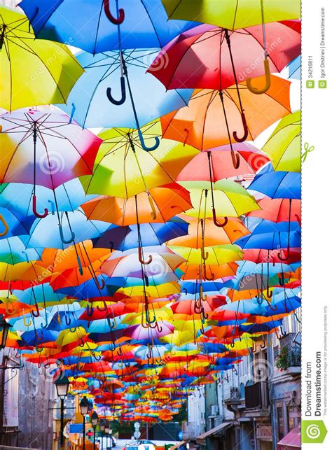 X2 3746 St Umbrella decorated with colored umbrellas stock image image 34216811