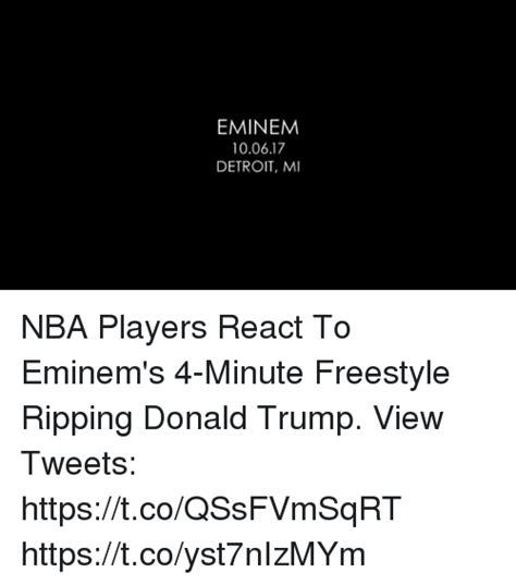 eminem freestyle lyrics eminemm 100617 detroit mi nba players react to eminem s 4