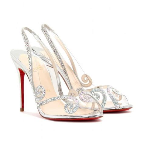 louboutin glass slipper sparkly silver cinderella shoes that are wearable only