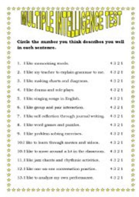 Printable Iq Test For Elementary Students | printable multiple intelligence test resources tests