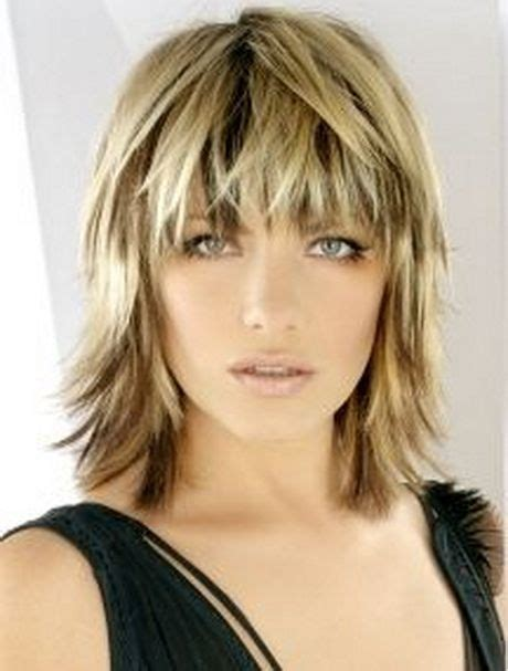 shoulder length hair with wispy bangs medium choppy haircuts blonde medium length choppy shag