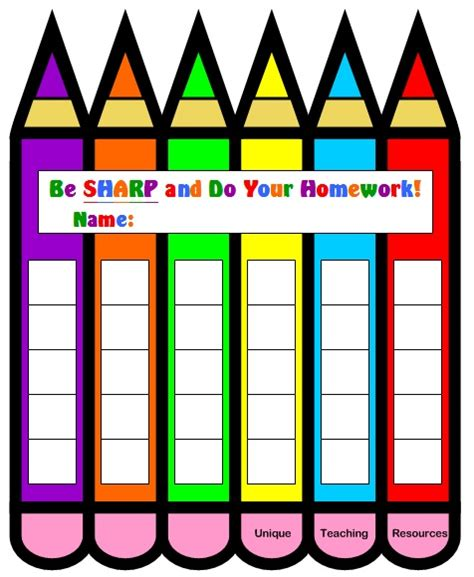 homework template for teachers free sticker chart pencil shaped sticker chart