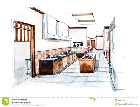 watercolor room kitchen room for restaurant design of watercolor painting stock illustration illustration