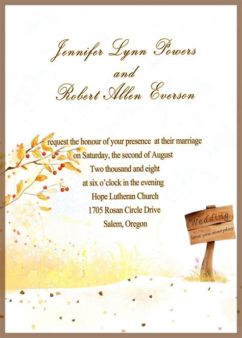 fall printable wedding invitation templates fall wedding invitation printable invitation templates