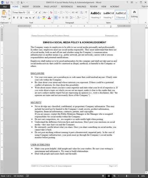 social media policy template for employees employee social media policy acknowledgement template