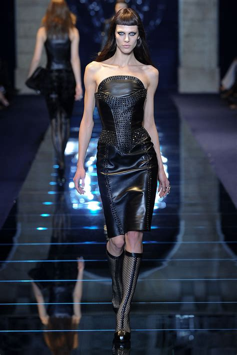 Catwalk To Carpet Emmy Rossum Who Wore Versace Better who wore versace s studded leather dress runway to the