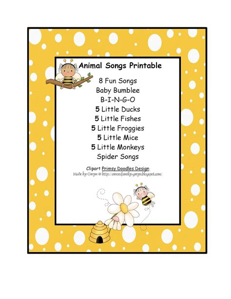 printable toddler songs preschool printables july 2012