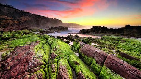 landscape sunset horizon stones nature mountain sea